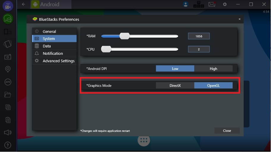 How can I change the graphics mode on BlueStacks 2