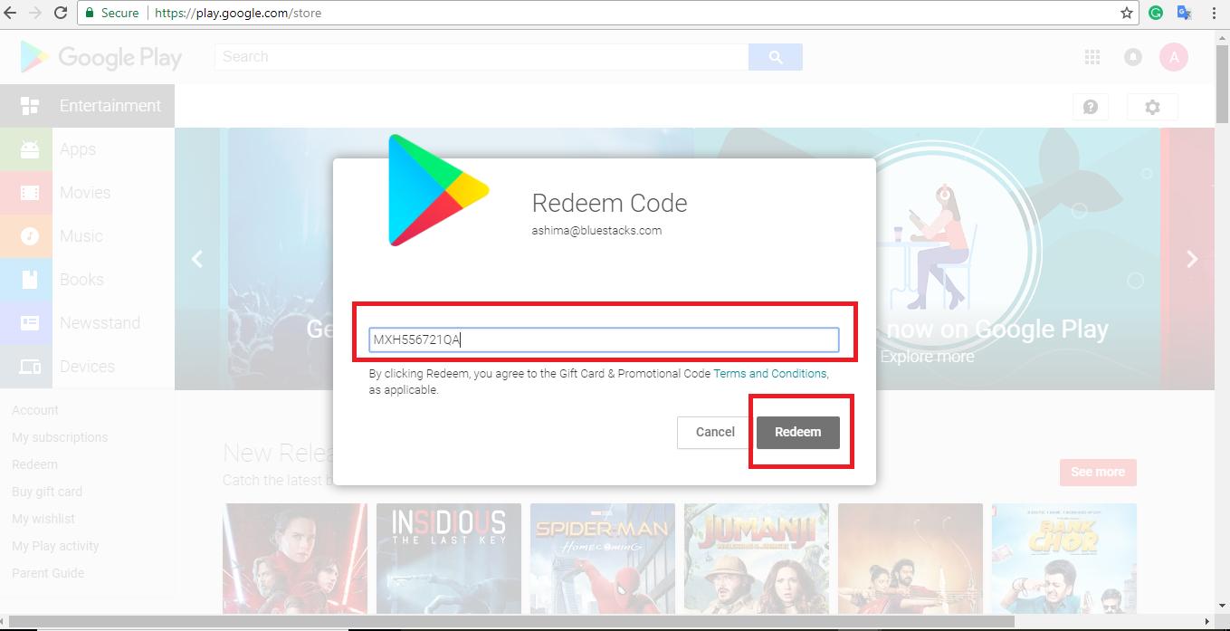 how can you redeem the google play egift card won in bluestacks bi