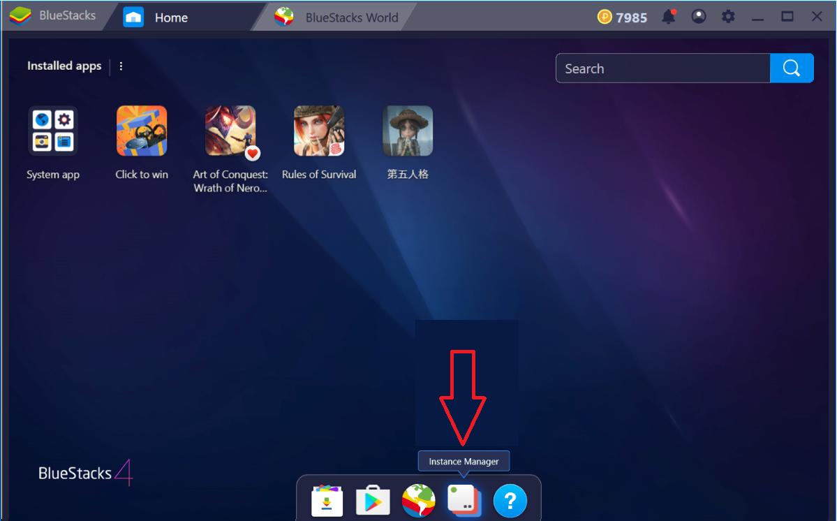 1) Phiên bản mới: - Bạn có thể tạo các phiên bản mới bằng cách nhấp vào  biểu tượng Trình quản lý đa nhiệm trong màn hình chính của BlueStacks 4.