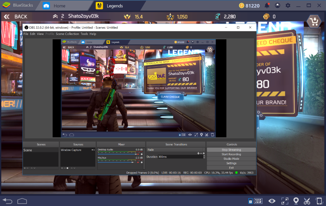 How can I stream game play on BlueStacks 4 using OBS