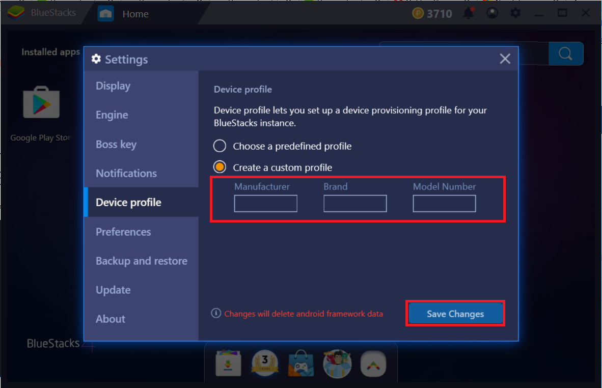 How can I switch the device profile on BlueStacks 4