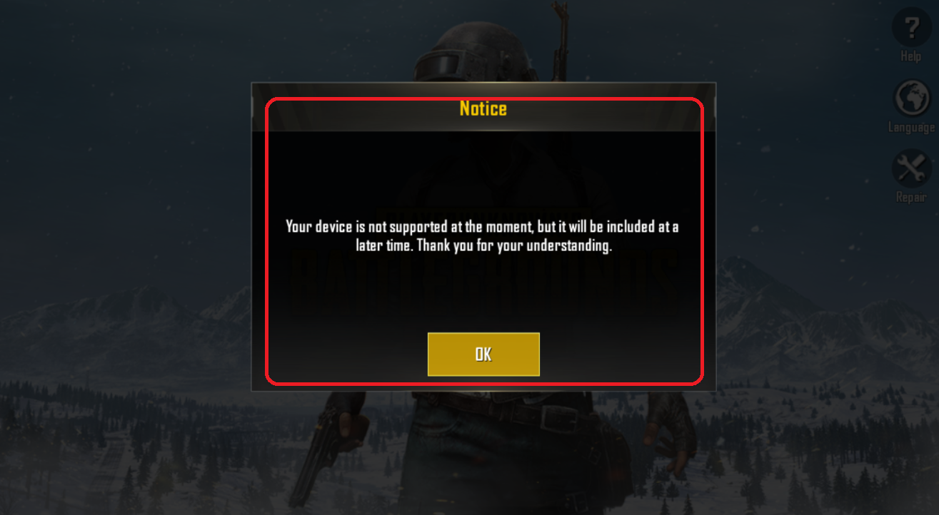 Solution for Device not supported message from PUBG Mobile