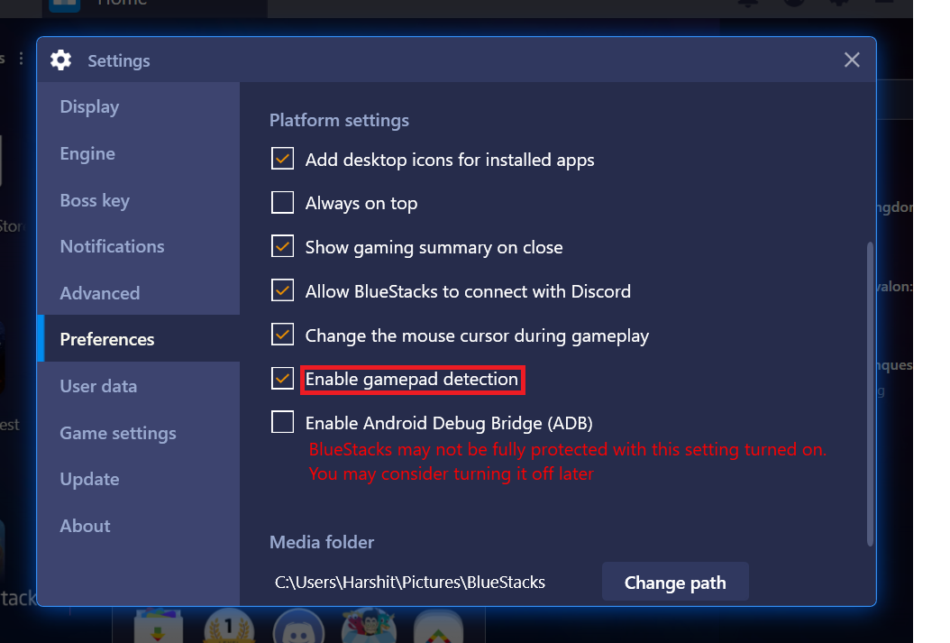 How to enable/disable Gamepad detection? – BlueStacks Support